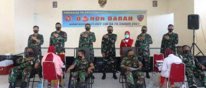 Sambut HUT Ke 76 TNI Lanud SMH Gelar Donor Darah